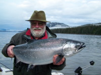 Noel Gyger with Kitimat BC Canada Douglas Channel Ocean Winter King  Salmon