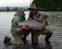 Skeena River Chinook - guest with fishing guide Dustin Kovacvich