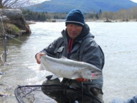 Calvin Higano landed this very bright Steelhead on the Kitimat River