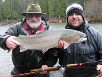 Noel Gyger and Rob Vodola with a Skeena Kalum River Steelhead