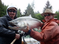 Tracey reported one guest from England landed a 34-pound Chinook on a fly.
