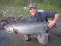 Ariel Kuppers with a Kitimat River Chinook (King) Salmon