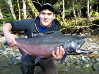 Brandon Wakita with a huge Kalum River Coho (Silver) Salmon