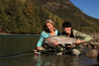 April Vokey and Andrea Charlton spey fly fishing for Steelhead
