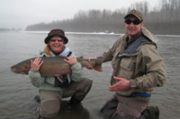 Fly fishing Steelhead - guest and guide Sky Richard